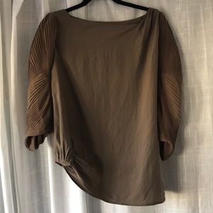 DVF Top with Pleated Sleeve and Asymmetrical Hem